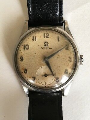Vintage 1950s Omega Wristwatch Stainless Steel 1956 Watch Original And Rare