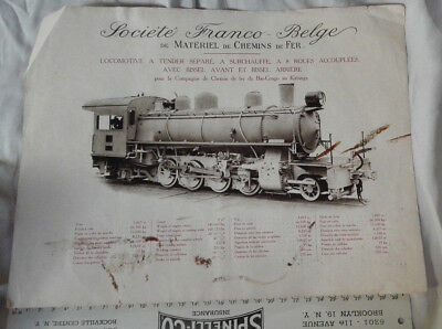 Train Locomotive Wagon Lot 4 Affichettes Societe Franco-Belge Annees 1900