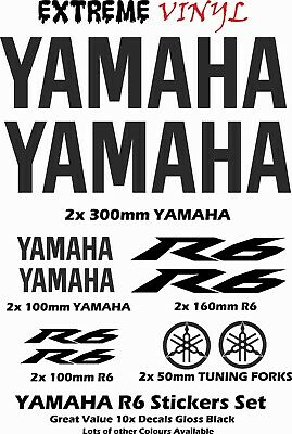 Yamaha R6 Sticker Set 10x Decals Gloss Black YZF R6 Supersport Lots of Colours