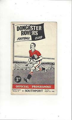 Doncaster Rovers v Southport Football Programme 1960/61