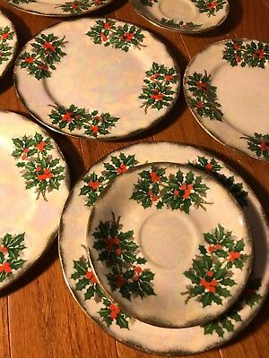 6 Ucagco Holly Christmas Snack Luncheon Plates & 3 Saucers Lusterware