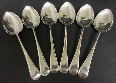 Vintage Set Of 6 Silver Plated Old English Patterned Dessert Spoons - Epns A1