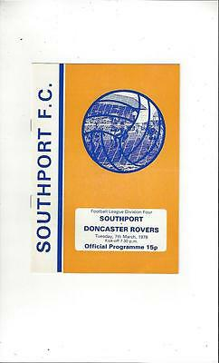 Southport v Doncaster Rovers 1977/78 Football Programme.