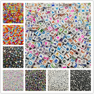 4x7mm 100pcs Oval Letter Acrylic Beads Charms Bracelet Necklace For Jewelry DIY