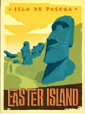 Postcard Of Vintage Travel Poster Easter Island Reproduction