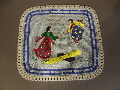 Antique Hand Made Asian Seed Bead Table Decoration Mat