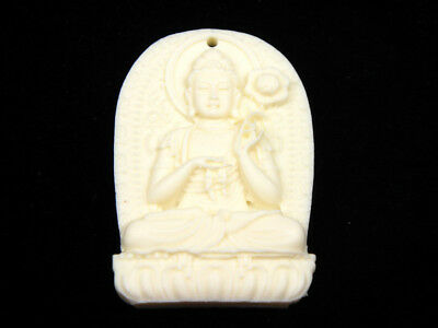 Solid Bone Detailed Hand Carved Pendant Kwan-Yin Buddha Holds Lotus #12041807