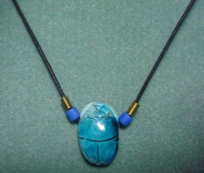 Vintage Blue Carved Egyptian Scarab Beetle Bug Cord Necklace Glass Brass Bead