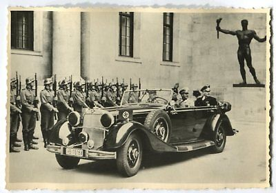 German Wwii Photo From Archive: Vintage Motor Car & Men In Uniforms