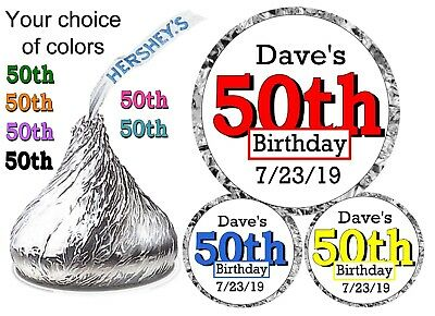 50th BIRTHDAY PARTY FAVORS HERSHEY KISS KISSES LABELS