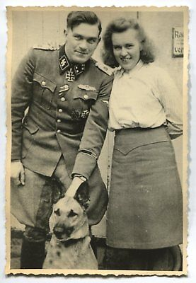 German Wwii Photo From Archive: Elite Troops Officer With Girlfriend And Dog