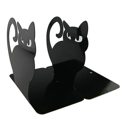 """Non Skid Bookends Solid Metal 8"""" High One Pair of 2 Bookends Music Kitty"""