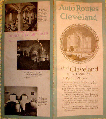 Hotel Cleveland Auto Routes To Cleveland: 4 Panel Brochure--Full Map On Reverse