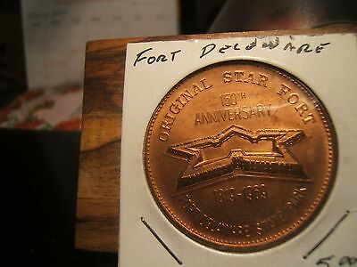 1819 -1969  Fort Delaware State Park Medal  Original Star Fort 150Th Year Anniv.