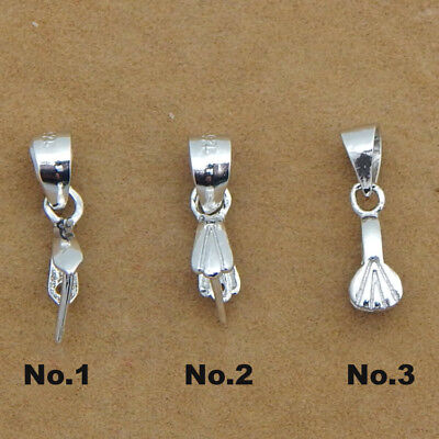 Sterling Silver Pinch Bail Pendant Clasp Charm Connector Bale Slide Shell Leaf