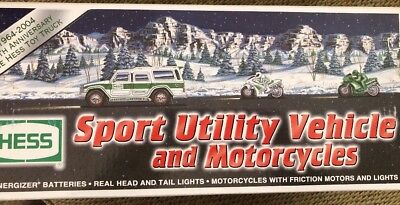 2004 Hess toy Truck sport utility vehicle & motorcycles Brand New W/box & insert