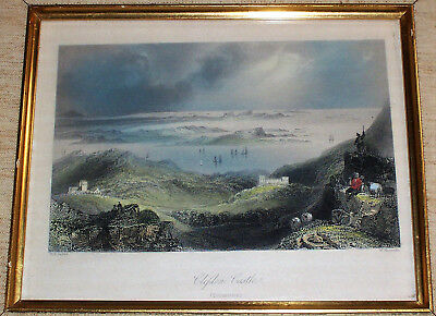 1841 Colored Engraving CLIFDEN CASTLE Ireland  175+ Years Old   Gothic Revival