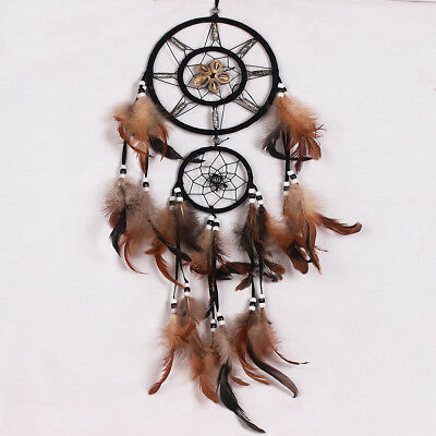 Wall Hanging Dream Catcher with Feathers Bead Home Decor Ornament Gifts Brown