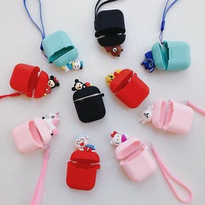 Cute Cartoon Earphone Silicone Charging Case Cover For apple Airpods Lanyard bag