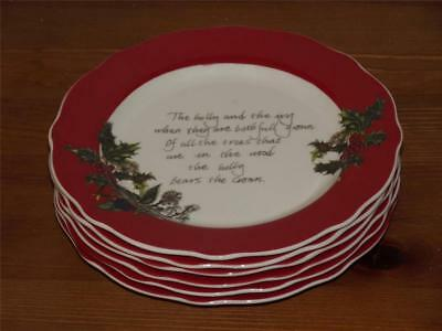 "SET OF 6 Portmeirion Holly & And The Ivy 6""  SIDE PLATES Red Border New"