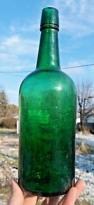 NICE DARK EMERALD GREEN COLORED CYLINDER WHISKEY BOTTLE PRE PRO HAND BLOWN 1890s