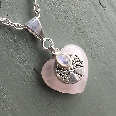 Rose Quartz Heart & Rainbow Moonstone Tree of Life Pendant Wicca Chakra LOVE