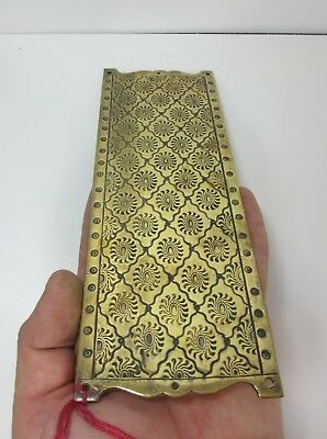 Victorian Brass Finger Plate Push Door Handle Etched Flower Floral Antique