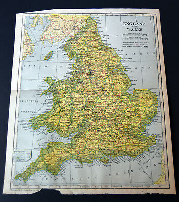 "1921 Antique ORIGINAL 11"" England Wales Map English Channel North Sea"