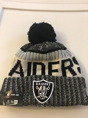 81b12e2265f Oakland Raiders Official NFL Sideline Beanie Knit Hat Authentic On Field  New Era