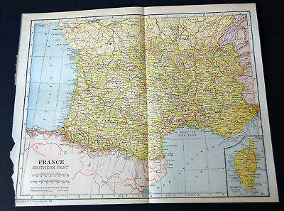 "1921 Antique ORIGINAL 11"" France Map Southern Part Europe Bay of Biscay"