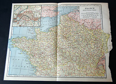 "1921 Antique ORIGINAL 11"" France Map Northern Part Europe Bay of Biscay"
