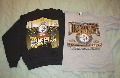 Lot of 2 Vtg Pittsburgh Steelers AFC 1995 CHAMPS & Super Bowl 30 shirts L Large