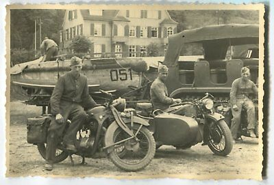 German Wwii Photo From Archive: Wehrmacht Soldiers With Motorcycles