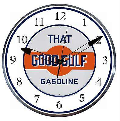 """That Good Gulf Gasoline 15"""" Retro Style Metal Pam Advertising Clock LED Lighted"""