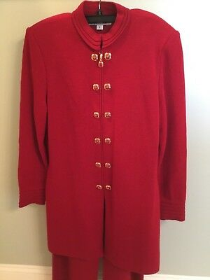 St John Knit Collection Marie Gray Jacket Long Pants Suit Red Women's 6 8 Tunic