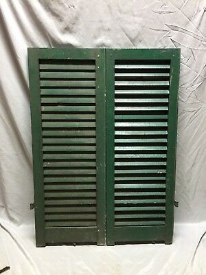 Small Pair Antique House Window Wood Louvered Shutters 14X38 Shabby Vtg 515-18C