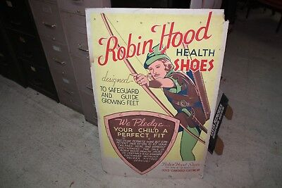 Rare Robin Hood Health Shoe cardboard advertising sign store display LARGE 44X28