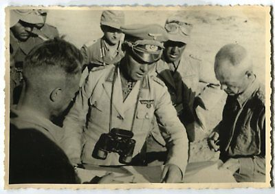 German Wwii Archive Photo: General & Group Of Officers, African Campaign