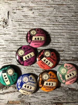 "IBEW 9th District Local 483 Pins ""Lot of 7"" 1973"