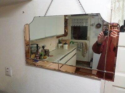 Beautiful Vintage Art Deco Wall Mirror 1930's Bevelled & Gold Rose Tinted Edges