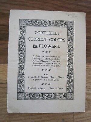Corticelli Correct Flower Colors For Embroidery 1897 Choose Shades Antique