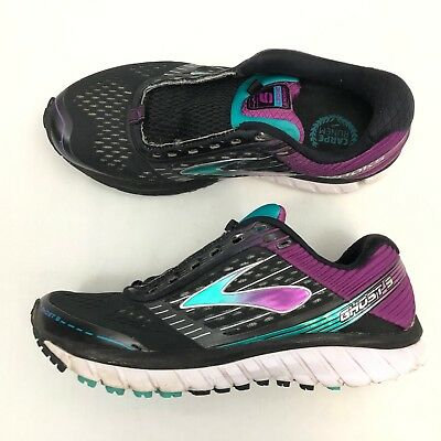 bcd4f490bd48 Brooks Ghost 9 Womens Athletic Running Shoes US 8 Wide Black Purple Fitness