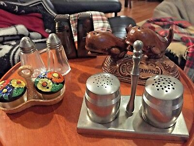 Lot of 5 Vintage Salt and Pepper Shaker Sets - Cupcake, Silver, Sea World