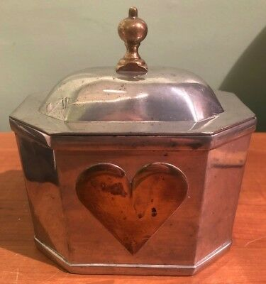 COLONIAL WILLIAMSBURG KIRK STIEFF PEWTER TEA CADDY with BRASS HEART & FINIAL