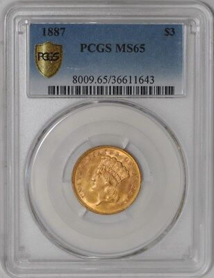 1887 $3 Gold Indian #939372-8 MS65 Secure Plus PCGS
