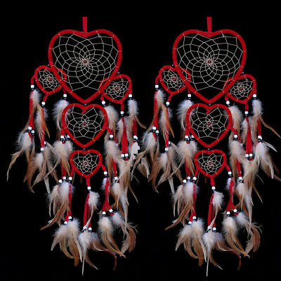 2PCS Red Heart Shaped Dream Catcher with Feathers Room Hanging Ornament Gifts