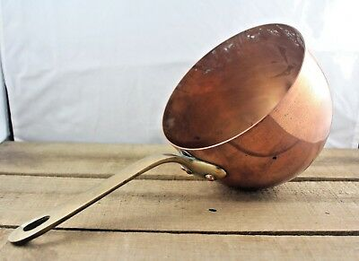 Rare Antique French Solid Copper Zabaglione Pan, Bronze Rivetted Handle c1910s