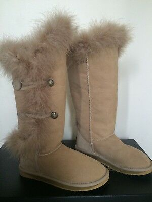 d6531ec711a AUSTRALIA LUXE COLLECTIVE Nordic Angel Tall Boots Shearling Rabbit Fur Us 6