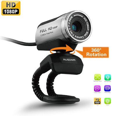 AUSDOM USB Webcam 1080P, 12.0M HD Camera with Built-in Microphone Clip-On for La