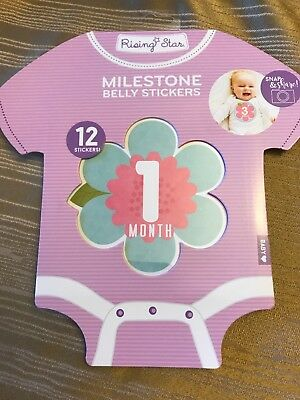 New! Rising Star Milestone Photo Prop Belly Flower 🌸 Stickers Baby Girls 0-12M